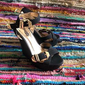 Black & Gold Charlotte Russe Wedge Heels